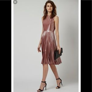 Topshop Lame metalic pleated midi dress